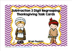 """These 24, 3 Digit Subtraction Regrouping Task Cards with a Thanksgiving (turkey) theme that are in both color and b/w and are perfect for math stations, rotations, centers, or to play """"Scoot"""", """"Quiz, Quiz Trade"""" and another cooperative group activities. They also work well for math journals, whole group, small group, homework, etc. If laminated or put into a plastic sleeve there is enough room to write on the cards with a dry erase marker. Included are suggestions for use, recording sheet…"""