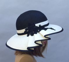 Kentucky Derby hat, Claire, beautiful straw hat with draped pleating on the side, womens, white and black two tone straw hat by LuminataCo on Etsy