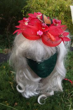 red butterfly toadstool fairy fascinator by MissChieviousMagpie