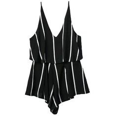 SheIn(sheinside) Spaghetti Strap Vertical Striped Black Jumpsuit (76 SAR) ❤ liked on Polyvore featuring jumpsuits, dresses, rompers, one piece, black, v neck romper, spaghetti strap jumpsuit, jump suit, black jump suit and black romper jumpsuit
