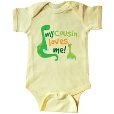 My Cousin Loves Me dinosaur Infant Creeper Banana $16.99 www.personalizedfamilytshirts.com