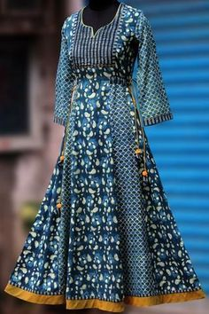 a beautiful, elegant long anarkali that& perfectly fitted till the hips and flares at the base. the anarkali has subtle hand embroidery with sequins in antiq Salwar Designs, Kurta Designs Women, Kurti Designs Party Wear, Blouse Designs, Kurta Patterns, Dress Patterns, Indian Dresses, Indian Outfits, Stylish Dresses