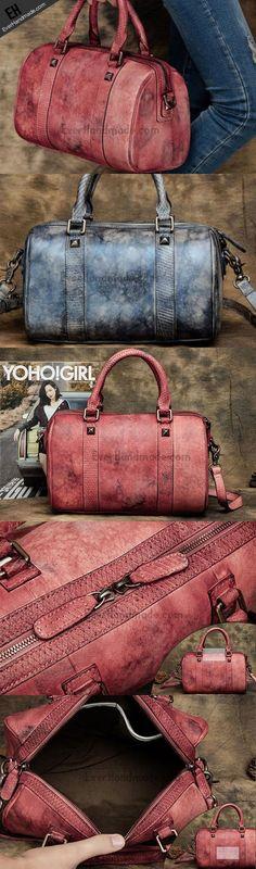 Handmade Leather handbag Boston bag purse shoulder bag for
