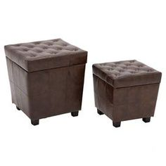 """Wrapped in faux leather upholstery and featuring richly tufted tops, these handsome stools offer stately style for your living room or den seating group.  Product: Small and large stoolConstruction Material: Foam, engineered wood and fabricColor: BrownFeatures: Tufted accentsDimensions: Small: 15"""" H x 15"""" W x 15"""" D Large: 20"""" H x 18"""" W x 18"""" D"""