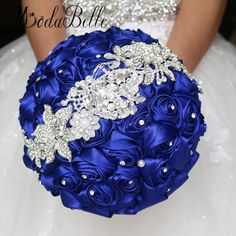 2016 Royal Blue Wedding Flowers Bouquets Fleur Bleu Roi Bridal Brooch Bouquet Crystal Bouquet De Mariage Red/Yellow/Pink/Purple