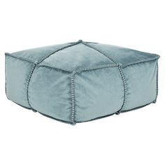 Cotton pouf ottoman in blue with tailored welting.   Product: PoufConstruction Material: FabricColor:...