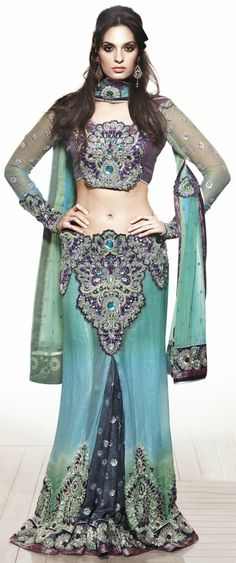 Aqua & Purple Saree