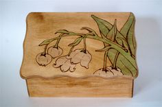 Personalized Wooden Lily Of The Valley Wedding Gift Card Box or Gift Box