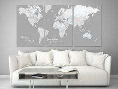 """Looking for the perfect trave lover wall art? map wall art, personalized map, anniversary gift for him, anniversary gift idea, maps as wall art trend. Many designs to choose! Map canvas print, earth tones world map with cities, 36x24""""  Custom quote set of 3 canvas prints - Multi panel world map canvas print, highly detailed world map with cities. Color combination: Hugh"""