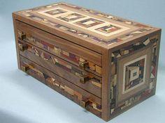 Mosaic Jewelry Box w/ Three Drawers