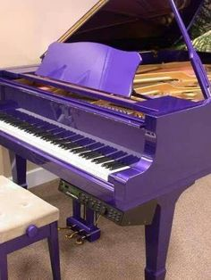 Would be perfect for a photo shoot. Who wouldn't wanna be photographed in an elaborate black dress with a purple piano?