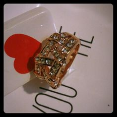 Ring High quality 18K rose gold Austrian Crystal SWA Element plate rings women size 8 Jewelry Rings