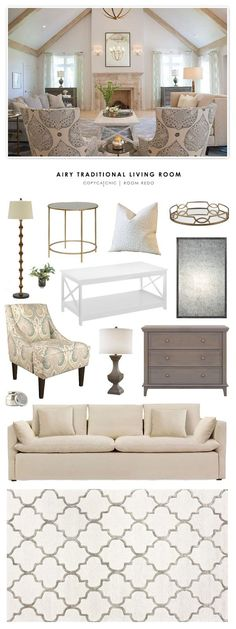 Copy Cat Chic Room Redo | Airy Traditional Living Room
