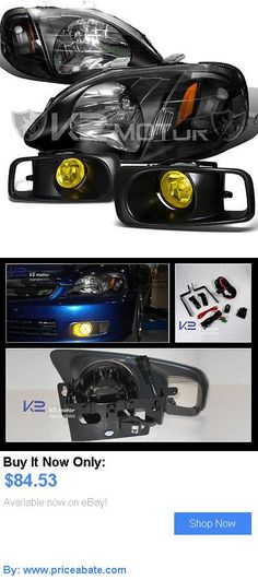 Motors Parts And Accessories: For 1999-2000 Honda Civic 2/3/4Dr Headlight W/ Fog Lamp Kit Black Yellow BUY IT NOW ONLY: $84.53 #priceabateMotorsPartsAndAccessories OR #priceabate