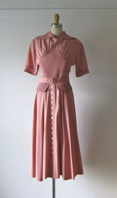 vintage 1940s dress / 40s dress / Deco Rose by Dronning