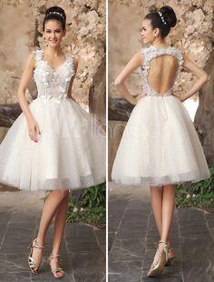 Laço sem encosto marfim Applique tule lantejoulas, vestido de noiva