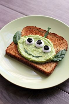 Turn avocado toast into crazy cute Toy Story aliens! It's tasty, healthy and simple food art that your kids and the whole family will love.  | [ http://family.disney.com/recipe/alien-avocado-toast ]