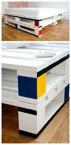 #Bedroom, #Mondrian, #Paint, #PalletBed