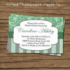 Bridal Shower Invitation. Damask Stripes. by PinkChampagnePaper, $15.00
