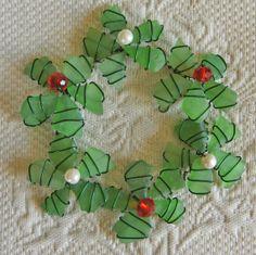 Sea Glass Wreath Ornament or Sea Glass Suncatcher by oceansbounty