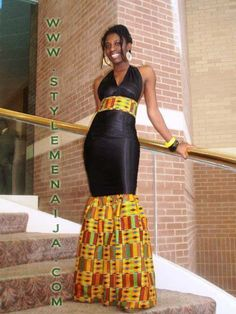 Elegant evening gown using Ghanian fabric