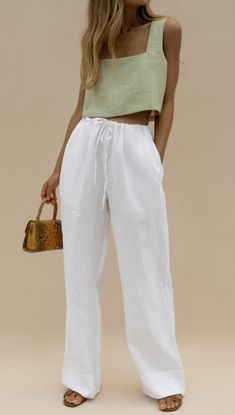 Cute Casual Outfits, Chic Outfits, Spring Outfits, Fashion Outfits, Womens Fashion, Outfit Summer, Linen Pants Outfit, White Pants Outfit, Mode Ootd