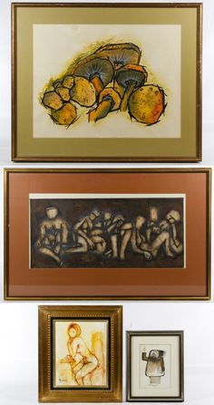 """Lot 638: Figural and Still Life Painting Assortment; Four items including an illegibly signed oil on canvas depicting a nude female, an unsigned David Hall """"Evangelist of the Untruth"""" watercolor on paper, an unsigned embossed print of cubist style figures and an unsigned watercolor on paper depicting mushrooms"""
