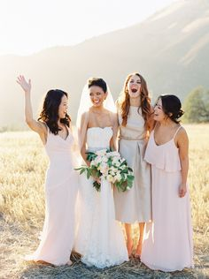 65 💒 Wedding Photos That You Will Fall in Love with 💑 💜 . Mismatched Bridesmaid Dresses, Wedding Bridesmaids, Wedding Dresses, Bridesmaid Inspiration, California Wedding, Wedding Bells, Wedding Hairstyles, Wedding Photos, Wedding Photography