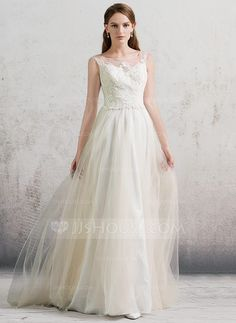 [US$ 159.99] A-Line/Princess Scoop Neck Sweep Train Tulle Wedding Dress With Beading Sequins