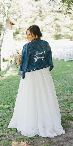Hottest Trend 2020/2021: 18 Wedding Jackets ❤ wedding jackets denim with decals for fall spring myonelove #weddingforward #wedding #bride