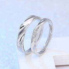 USA 925 Sterling Silver Plated Crystal Adjustable Couple Engagement Wedding Ring Condition: 100% brand new and high quality Material: Silver plated, Crystal Main stone: Crystal Size: Adjustable Ring c