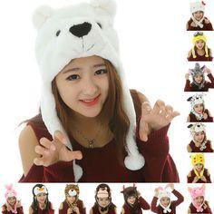 Costume Mask Cartoon Earmuff Plush Warm Animal Hat Soft Cape Winter Beanie   fashion  clothing 4016a3d57f63
