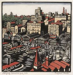 Circular Quay, (1925) by Margaret Preston :: woodcut, printed in black ink, hand-coloured with gouache on thin ivory mulberry paper