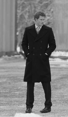 Prince Harry of Wales He should totally wear long coat more often.. he looks just