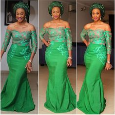 Beautiful Nigerian Bukky bky_n in green asoebibella and gele at ebanj2014 ! Makeup & photo by banksbmpro. Photo from Bella Naija Weddings. Bride inspiration.