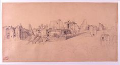 The Palatine Hill, Rome, Camille Corot (French, Paris 1796–1875 Paris), Graphite on tan wove paper