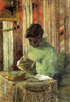 The embroiderer or Mette Gauguin, 1878, Paul Gauguin  Medium: oil on canvas