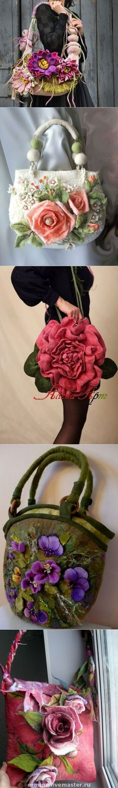 Необыкновенные валяные сумочки с цветами...♥ Deniz ♥