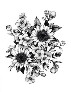 Change the small flowers to Cornflowers, add pops of blue to the Cornflowers and pops of yellow to the Sunflowers, and change the rest to a sepia tone and...you have me in a tattoo!
