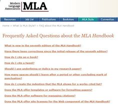 MLA - FAQ about MLA (including the differences between MLA 6 and 7). mla includ, citat help