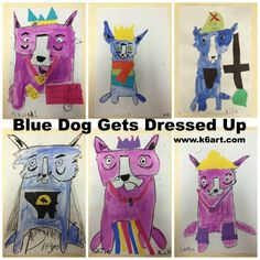 George Rodrigue -- blue dog gets dressed up