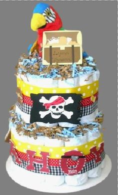 "1/"" Pirate Birthday Party Ribbon Parrot Bow Cake Card Boy Matey Blue Decoration"