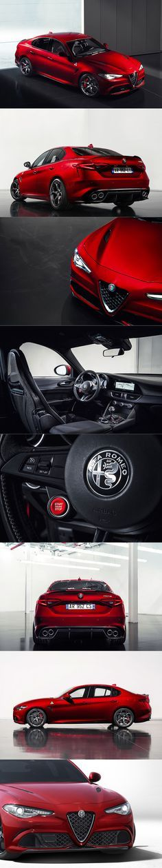 2015 Alfa Romeo Giulia Quadrifoglio / Italy / red / 503 hp Just when I had thought my desire for exotic Italians was over. My Dream Car, Dream Cars, Alfa Romeo Giulia, Alfa Romeo Cars, Mc Laren, Sports Sedan, Vw Bus, Maserati, Sport Cars