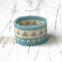 Wide beaded ring wide band ring peyote ring ethnic by Anabel27shop