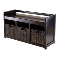 Product image for Winsome Trading Addison Storage Bench with 3 Baskets