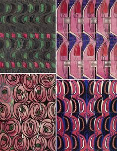 PO - Charles Rennie Mackintosh - top left dress fabric design, tulip and lattice,waves, rose and teardrop