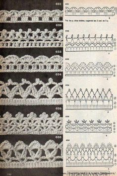 Tina s handicraft 128 designs patterns for trimmings – Artofit Crochet Border Patterns, Crochet Boarders, Crochet Lace Edging, Crochet Motifs, Crochet Chart, Lace Patterns, Thread Crochet, Crochet Trim, Knit Crochet