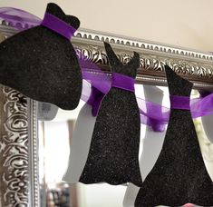 Little Black Dress Garland Paper Bachelorette Party Bridal Shower Girls Night Decoration Sparkly Black with Purple Organza Ribbon.
