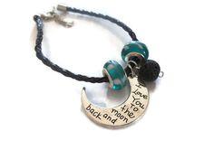 I Love You Bracelet, Lava Rock Diffuser Bracelet, Beaded Charm Bracelet, Essential Oil Diffuser Bracelet, Free Shipping, Moon and Back
