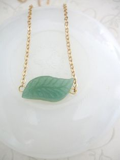 Green Aventurine Leaf Necklace with Dainty Gold Chain green leaf necklace